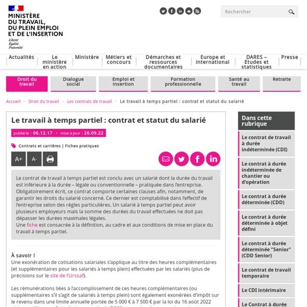Contrat de travail à temps partiel : ce que dit le code du travail