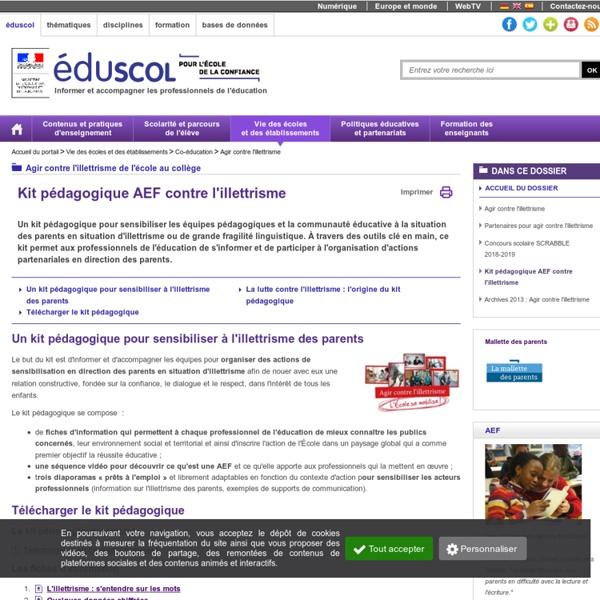 Agir contre l'illettrisme - Kit pédagogique AEF contre l'illettrisme