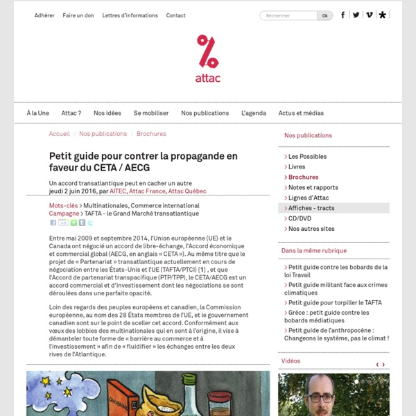 Petit guide pour contrer la propagande en faveur du CETA / AECG