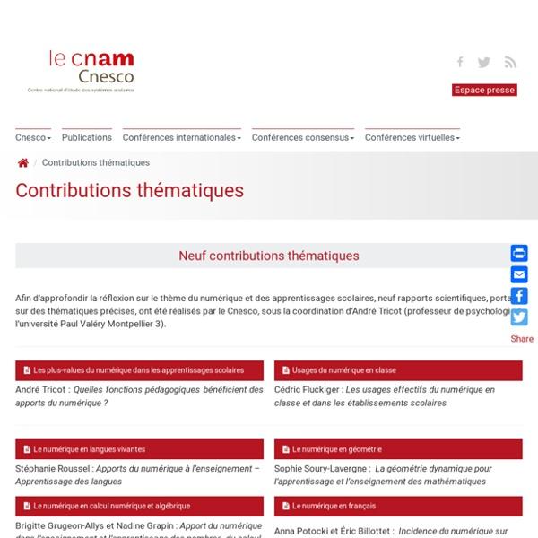 Contributions thématiques