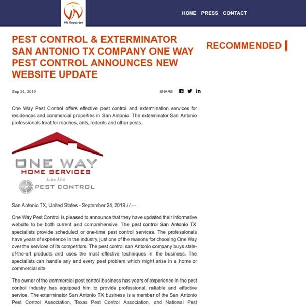 Pest Control & Exterminator San Antonio TX Company One Way Pest Control Announces New Website Update