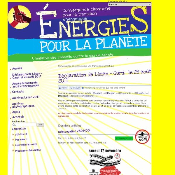 Convergence citoyenne pour la transition energetique - A l'initiative des collectifs contre le gaz de schiste