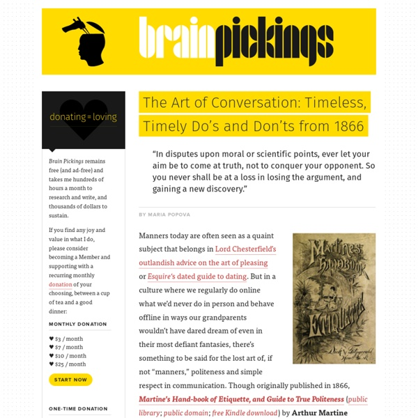 The Art of Conversation: Timeless, Timely Do's and Don'ts from 1866