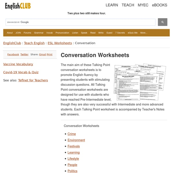 Conversation Worksheets Pearltrees