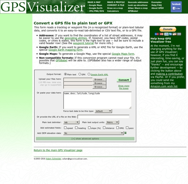 Convert GPS files to plain text or GPX