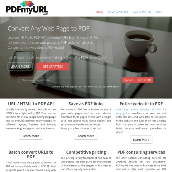 PDFmyURL.com - Free &Online: Convert and save PDF from any web page
