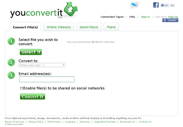 Free online media file conversion (Document, Images, Audio, Vide