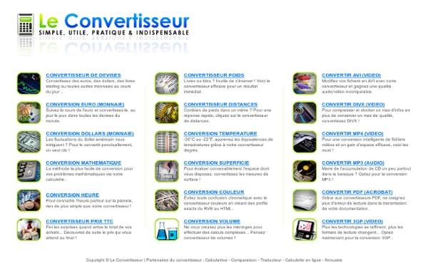 Le Convertisseur - Convertisseur en ligne gratuit (Devises, mesure, poids, mp3 ...)