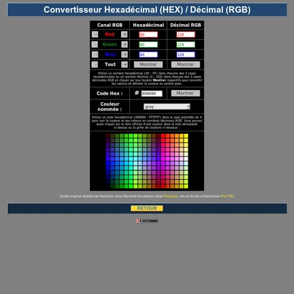 Convertisseur de couleurs en HEX et RGB et visualisation