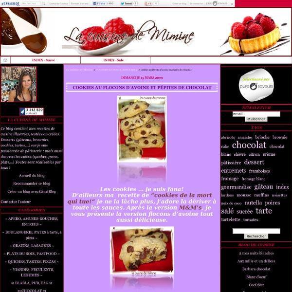 Cookies au flocons d'avoine et pépites de chocolat