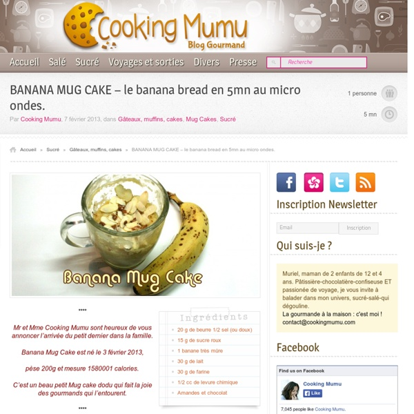 Cooking Mumu BANANA MUG CAKE - le banana bread en 5mn au micro ondes