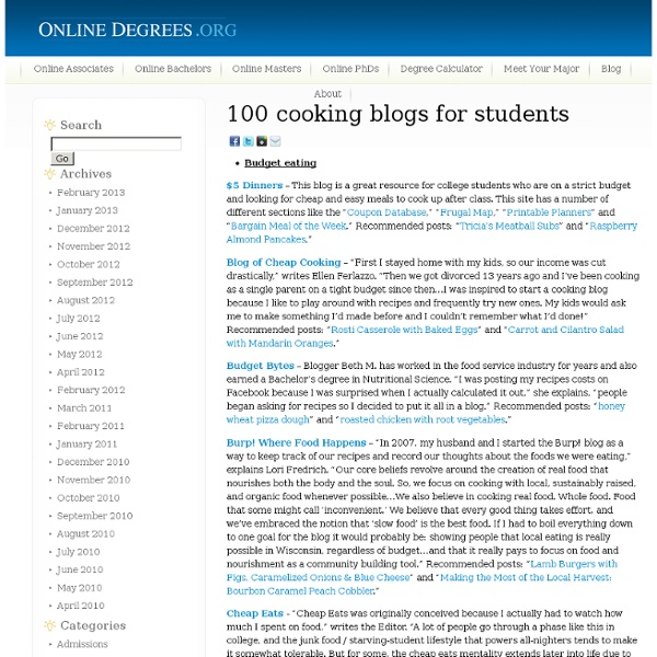 100 cooking blogs for students