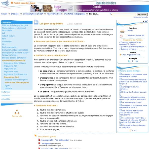 Les jeux coopératifs- Pédagogie - Direction des services départementaux de l'éducation nationale du 16