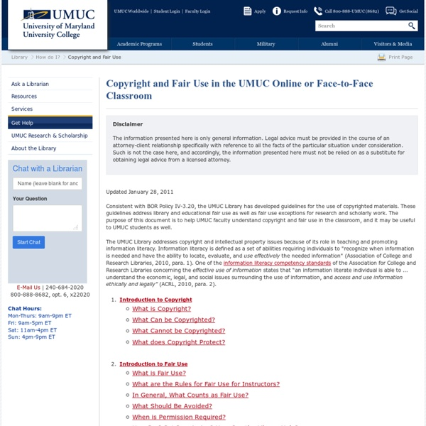 Copyright and Fair Use - UMUC Library