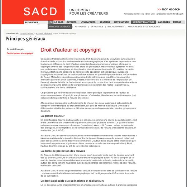 Droit d'auteur et copyright - Principes généraux - Le droit d'auteur