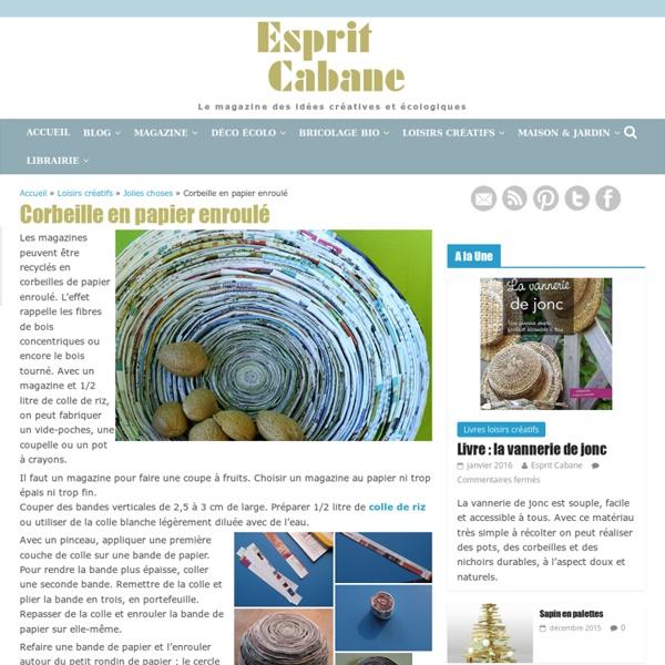 Corbeille en papier enroulé, Esprit Cabane, idees creatives et ecologiques
