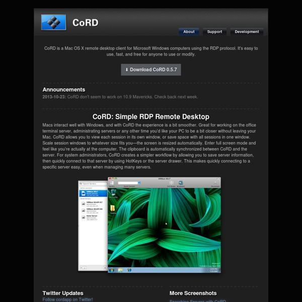 CoRD: Remote Desktop for Mac OS X