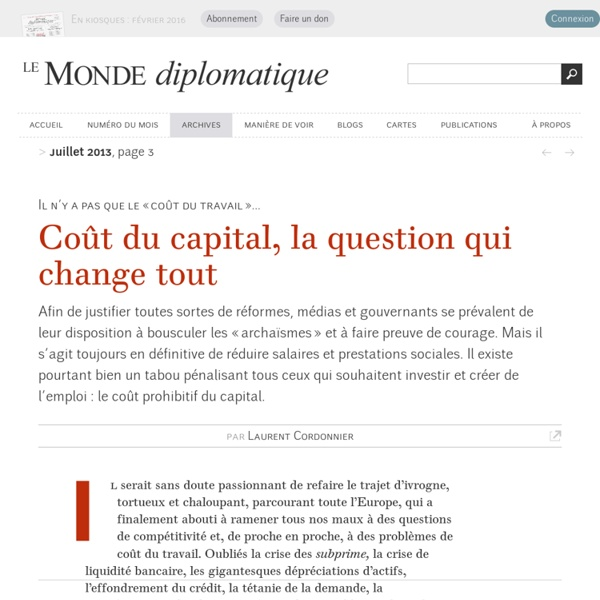 Coût du capital, la question qui change tout, par Laurent Cordonnier