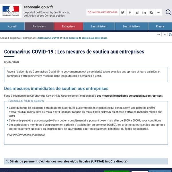 Coronavirus COVID-19 : Les mesures de soutien aux entreprises