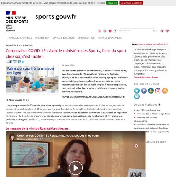 Coronavirus COVID-19 : Avec le ministère des Sports, faire (...) -