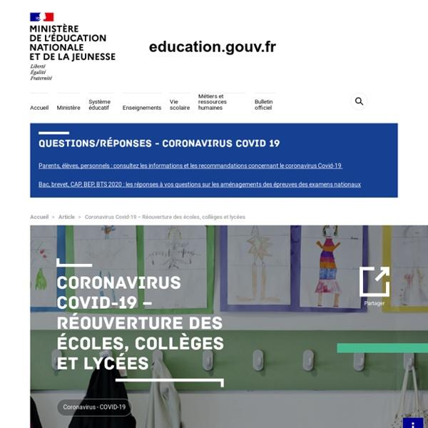 Coronavirus et Réouverture des collèges, Lien pour les professeurs
