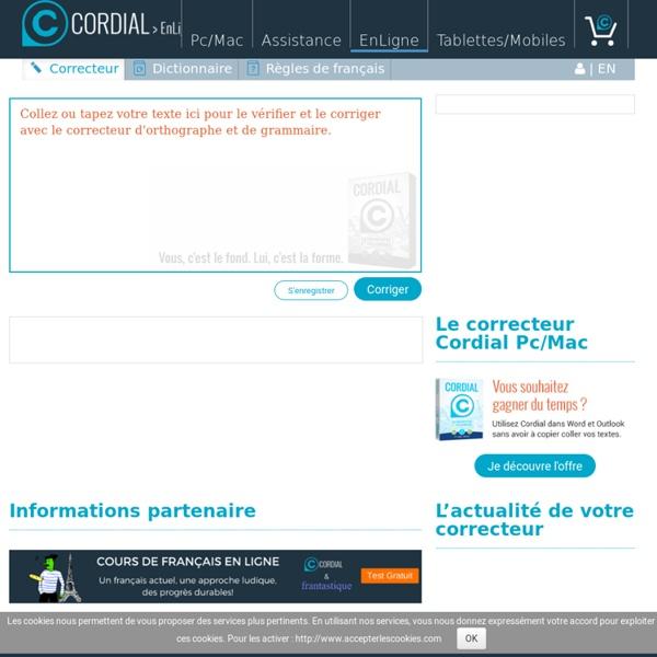 Cordial en ligne, correcteur gratuit d'orthographe et de grammmaire pour vos textes en français