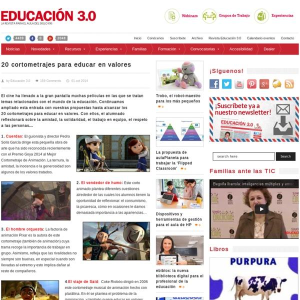 20 cortometrajes para educar en valores
