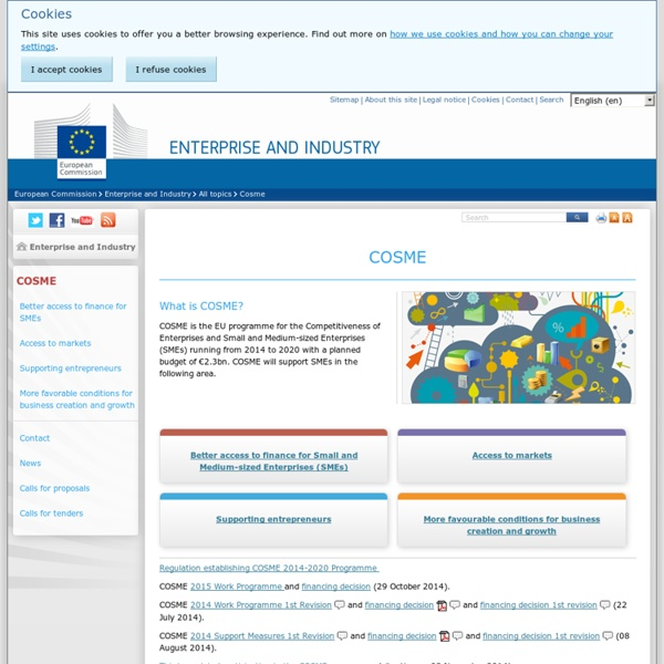 2014 - 2020 Programme for the Competitiveness of enterprises and SMEs (COSME)