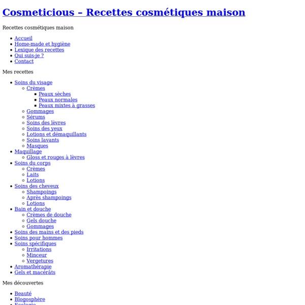 Cosmeticious – Recettes cosmétiques maison