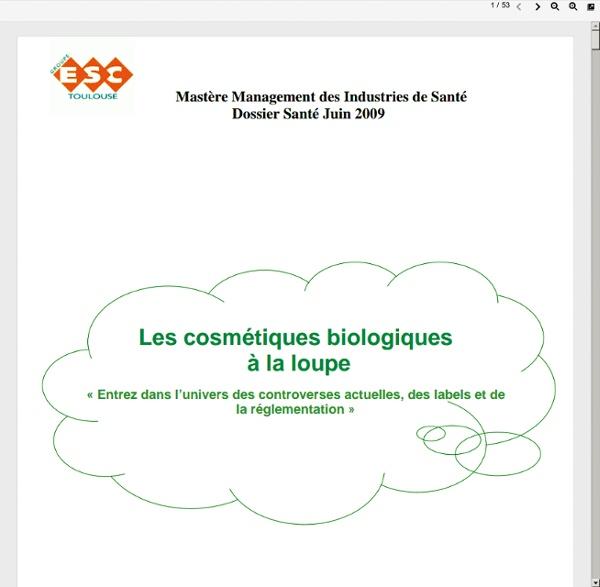 Dossier cosmétiques biologiques octobre 2009