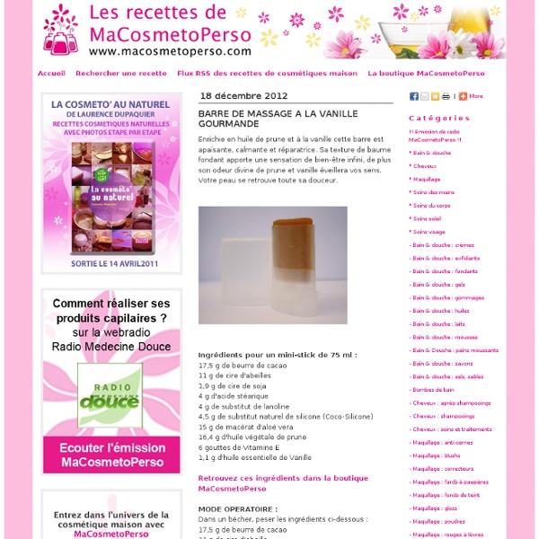 Recettes cosmétiques maison MaCosmetoPerso - Recette