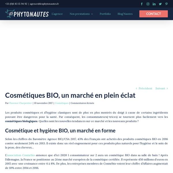 Cosmétiques BIO, un marché en plein éclat - Agence Web - Les Phytonautes