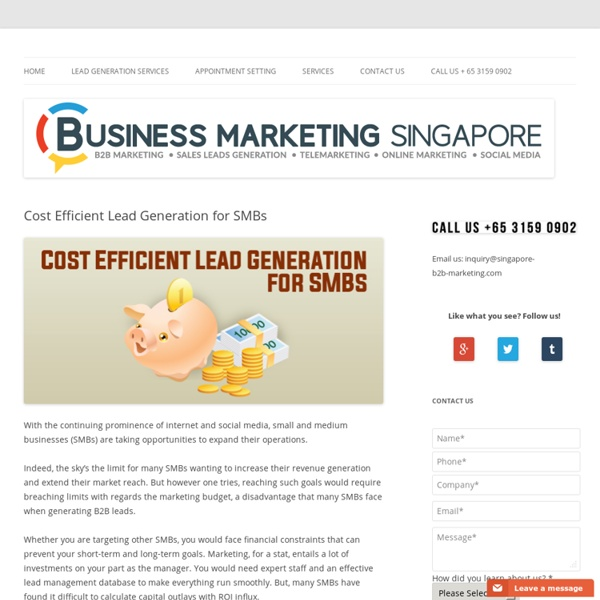 Cost Efficient Lead Generation for SMBs