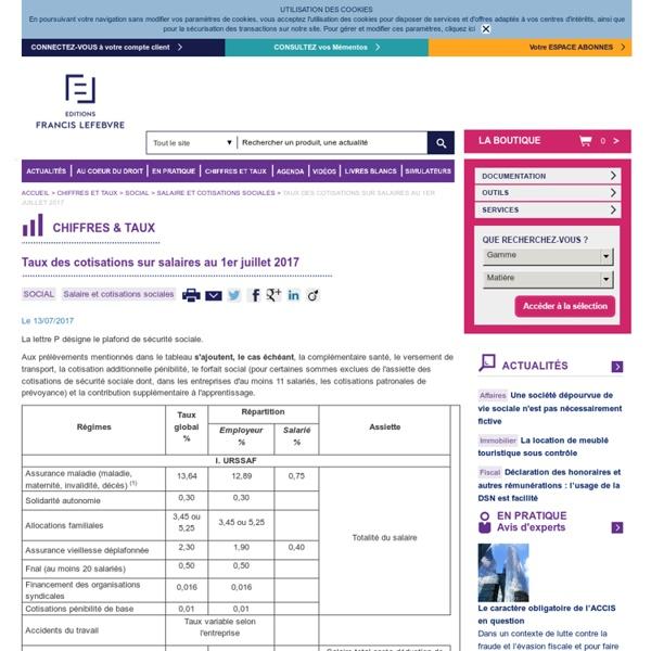 Taux des cotisations sur salaires au 1er janvier 2017 - Salaire plafond de la securite sociale ...