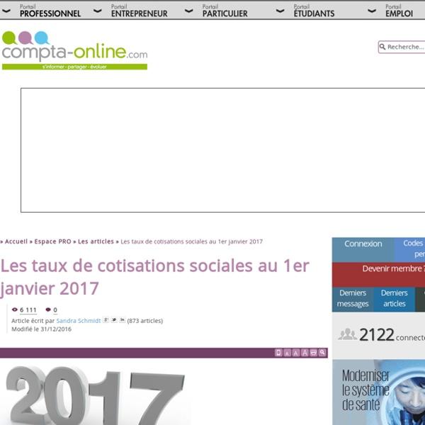 Les taux de cotisations sociales au 1er janvier 2017