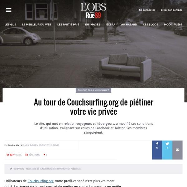Au tour de Couchsurfing.org de piétiner votre vie privée