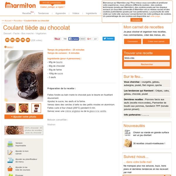 Coulant tiède au chocolat : Recette de Coulant tiède au chocolat