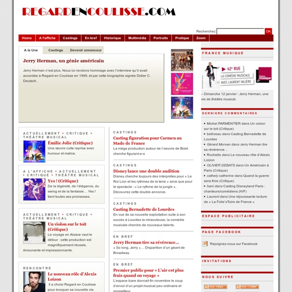 Regard en Coulisse, le webzine du théâtre musical