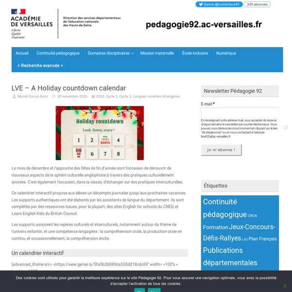 LVE – A Holiday countdown calendar – Pédagogie 92