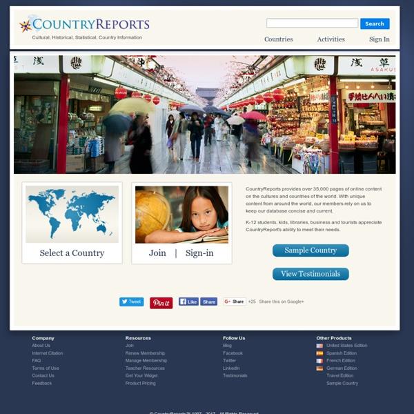 Countries of the World - CountryReports.org - StumbleUpon