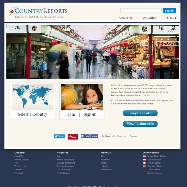 Countries of the World - CountryReports.org - StumbleUpon