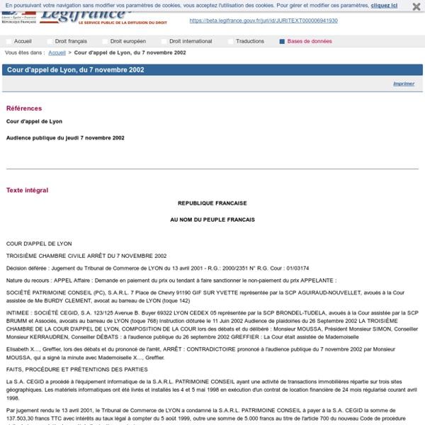 Cour d'appel de Lyon, du 7 novembre 2002