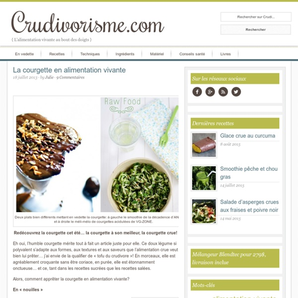 La courgette en alimentation vivante