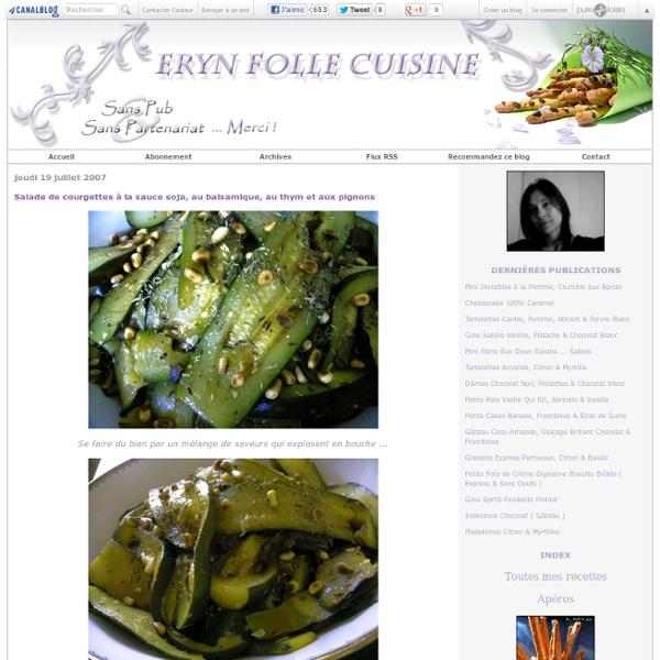 Salade de courgettes à la sauce soja, au balsamique, au thym et aux pignons