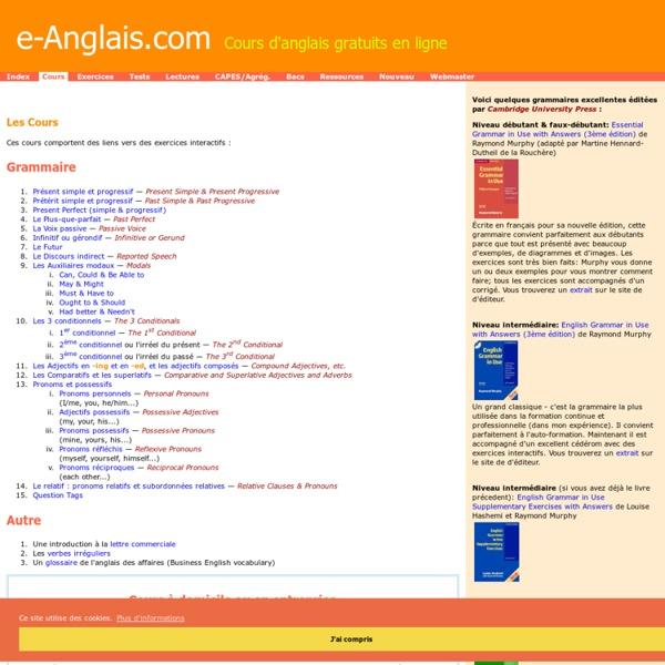 Cours d'anglais en ligne - grammaire, etc., e-anglais.com