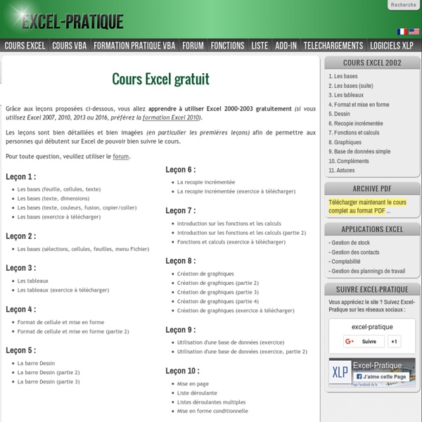 Cours Excel gratuit