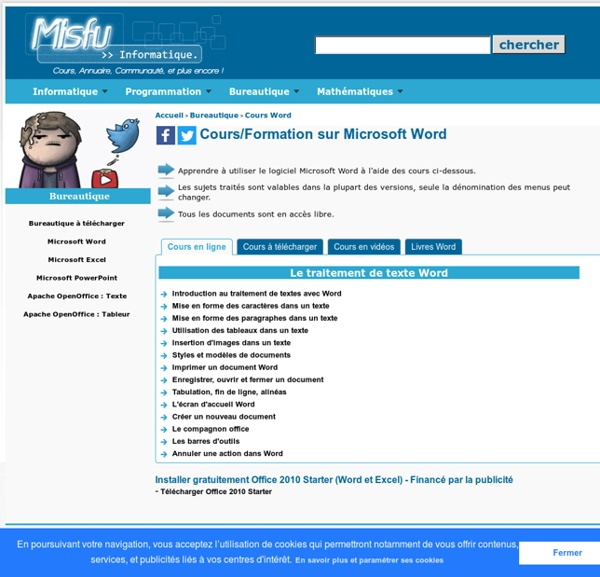 Cours/Formation sur Microsoft Word