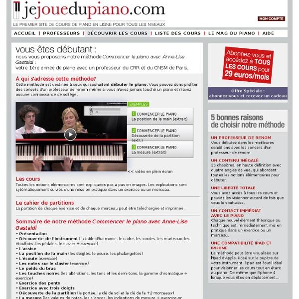Cours de piano en ligne pour les débutants