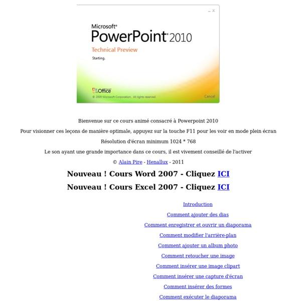 Cours Powerpoint 2010 gratuit et animé Alain Pire