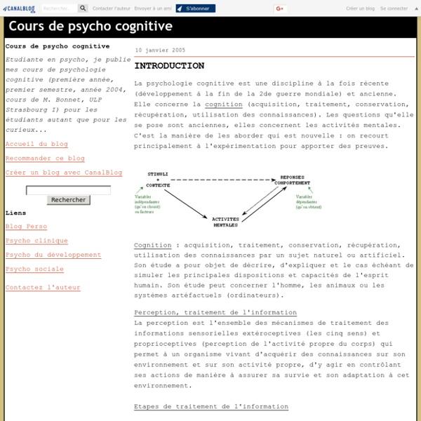 Cours de psycho cognitive